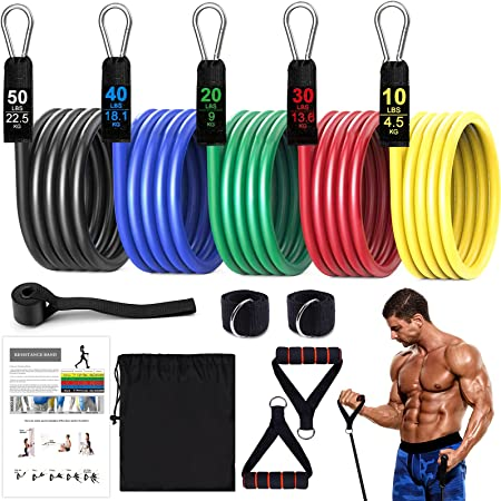 11Pcs Exercise Resistance Bands Sets for Women and Men Fitness Gym Strength