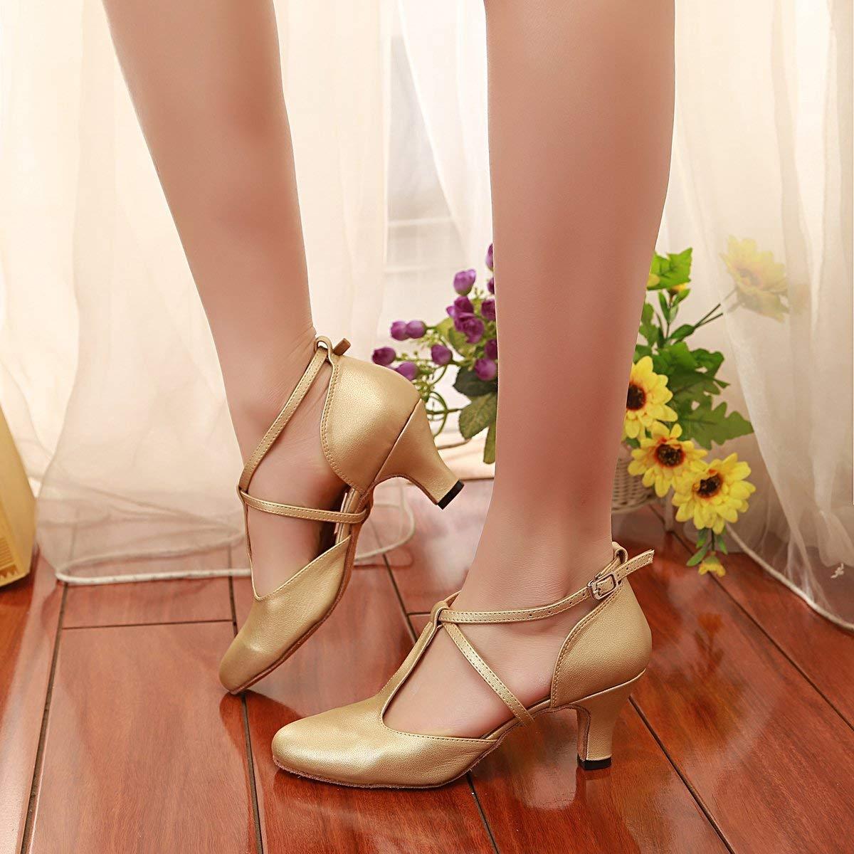 Qiusa Damen T-Strap Ballroom Latein Salsa Tanzschuhe Gold Braut Braut Braut Hochzeit Pumps UK 4 (Farbe   - Größe   -) ef96eb