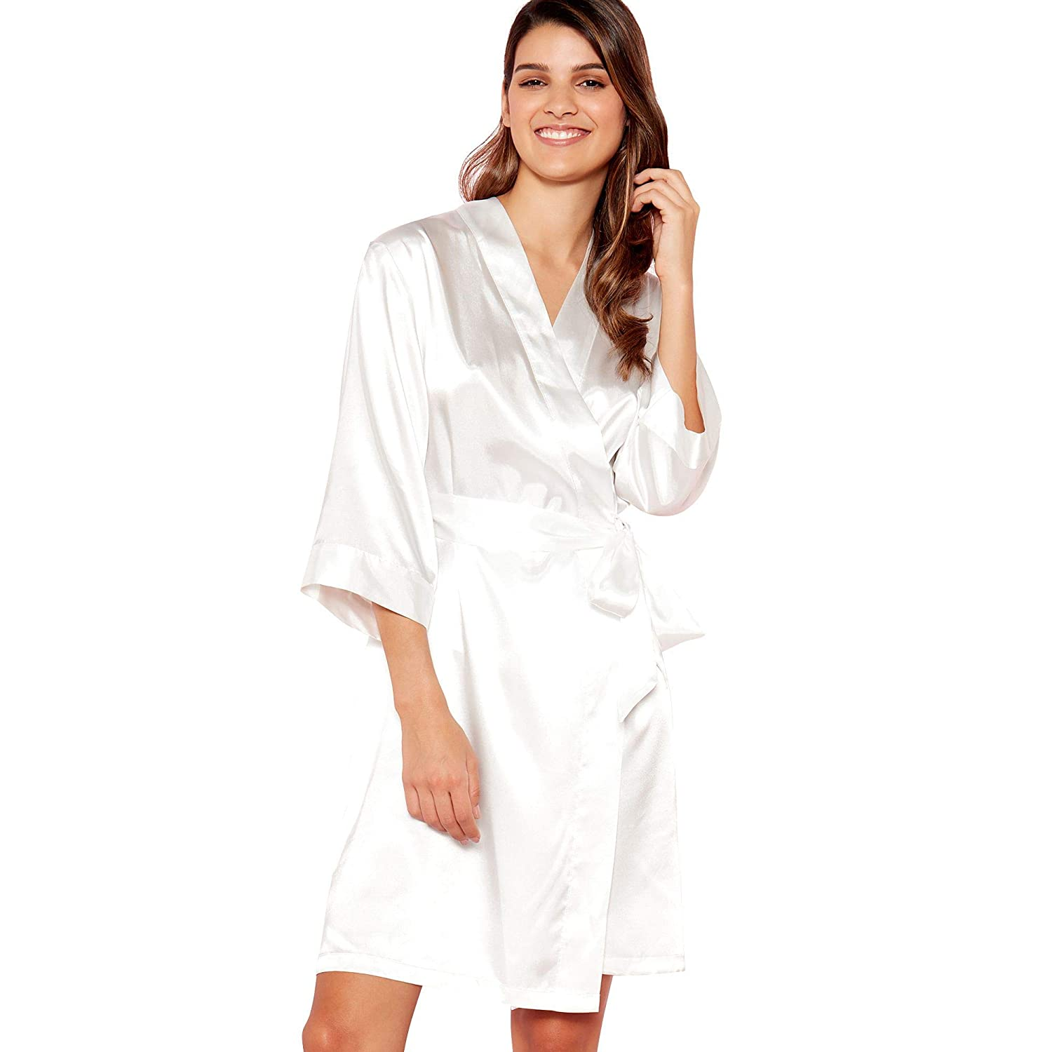 Debenhams The Collection Womens Ivory  Mrs B  Satin Dressing Gown  The  Collection  Amazon.co.uk  Clothing 3fb36578b