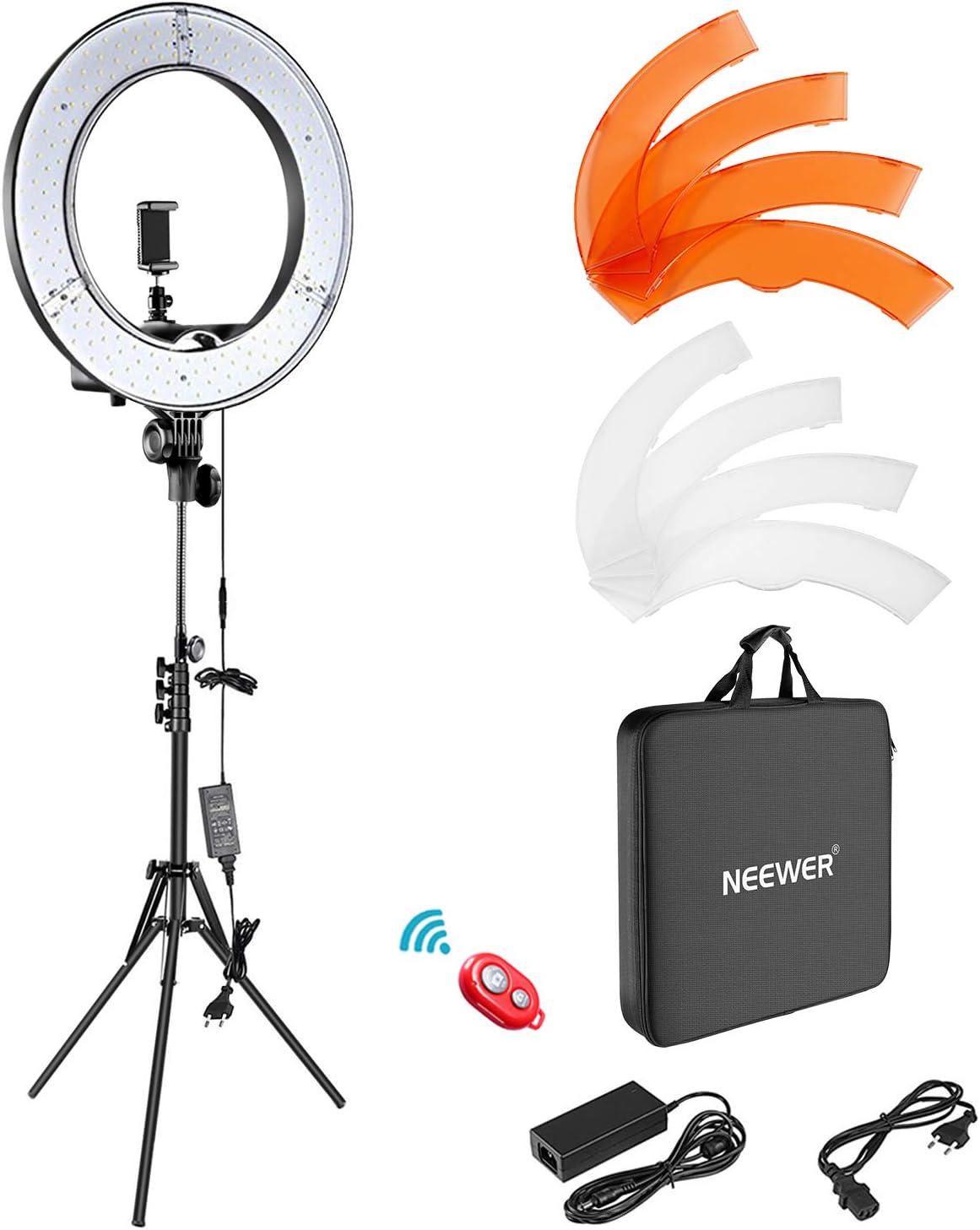 Neewer Anillo de Luz LED Regulable Iluminación Kit 48cm Exterior 52W 5500K Soporte de Luz Receptor para Teléfono Inteligente Youtube Autorretrato de Grabación