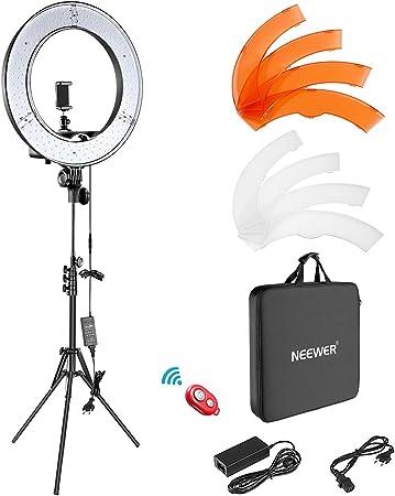 Todo para el streamer: Neewer Anillo de Luz LED Regulable Iluminación Kit 48cm Exterior 52W 5500K Soporte de Luz Receptor para Teléfono Inteligente Youtube Autorretrato de Grabación