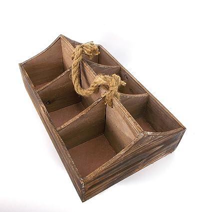 Retro Vintage de madera de almacenamiento 6 compartimento caja de cerveza caja de madera bandeja para