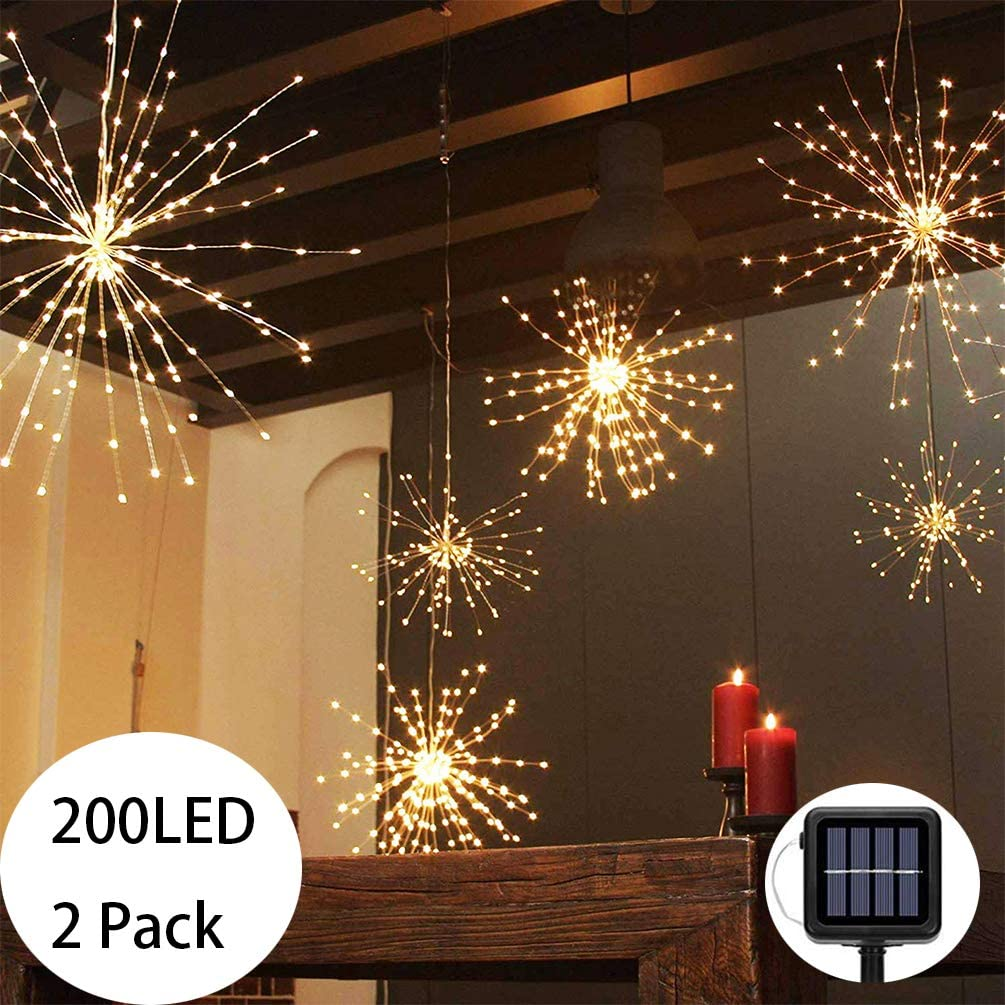 PXB 2 Pack Starburst Sphere Lights,200 Led Firework Lights, 8 Modes Dimmable Waterproof Hanging Fairy Light, Copper Wire Lights for Patio Parties Christmas (2 Pack Solar Operated)