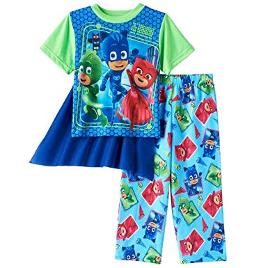 PJ Masks Boys Pajamas With Cape (2T, PJ Masks Blue/Green)