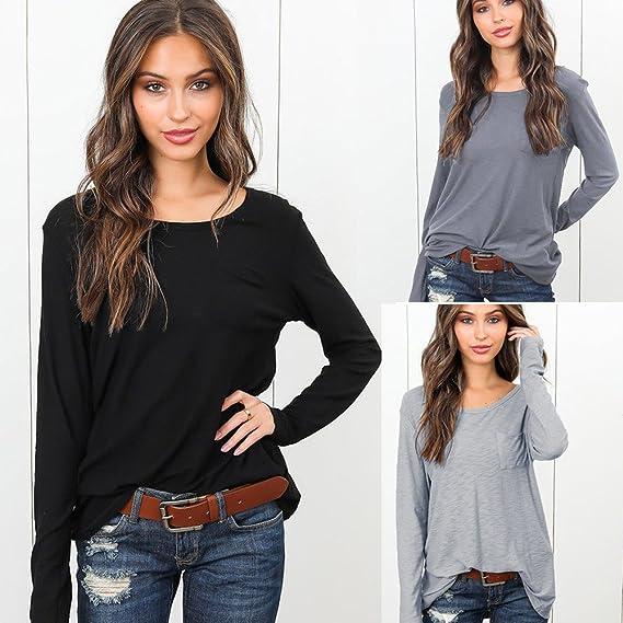 Niña otoño fashion carnaval,Sonnena ❤ Camisa de manga larga sólida con bolsillos para mujer Blusa con cuello redondo de mujer con cuello redondo: ...