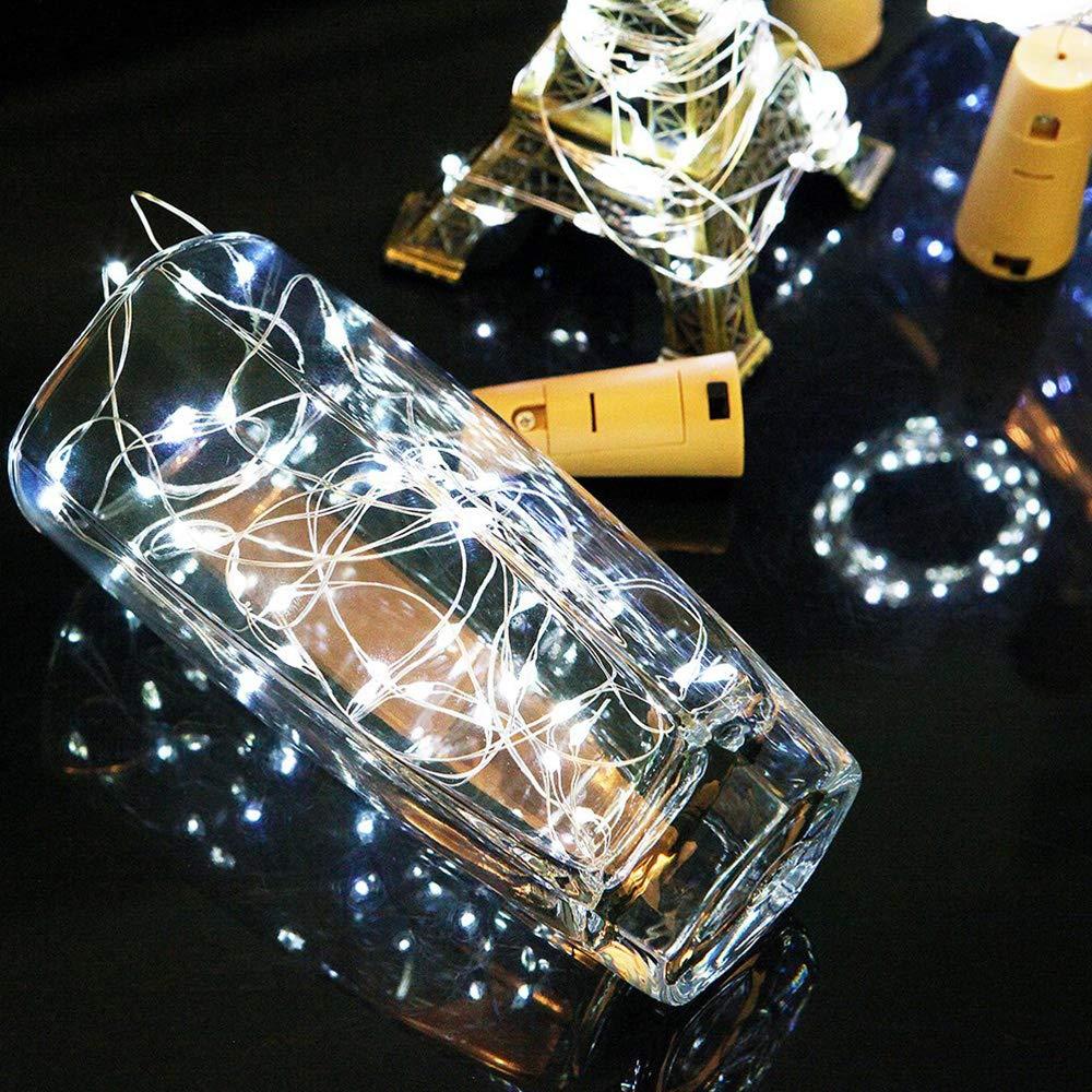 ENUOLI azul botella de vino del Hada Luna LED se enciende con Cork 6 Pack Funciona con pilas Luces de interior al aire libre 2M alambre de cobre luces de cadena con 20 LEDs Micro para la boda de Navi