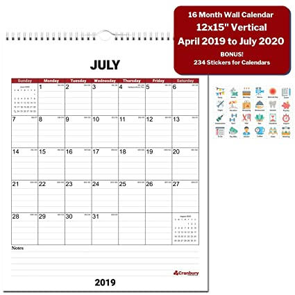 School Year 2020-16 Calendar Amazon.: Large Wall Calendar 2019 2020 Academic Year (Red