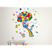Amazon Brand - Solimo Wall Sticker for Kids' Room (Balloon Party, Ideal Size on Wall, 54 cm X 63 cm)