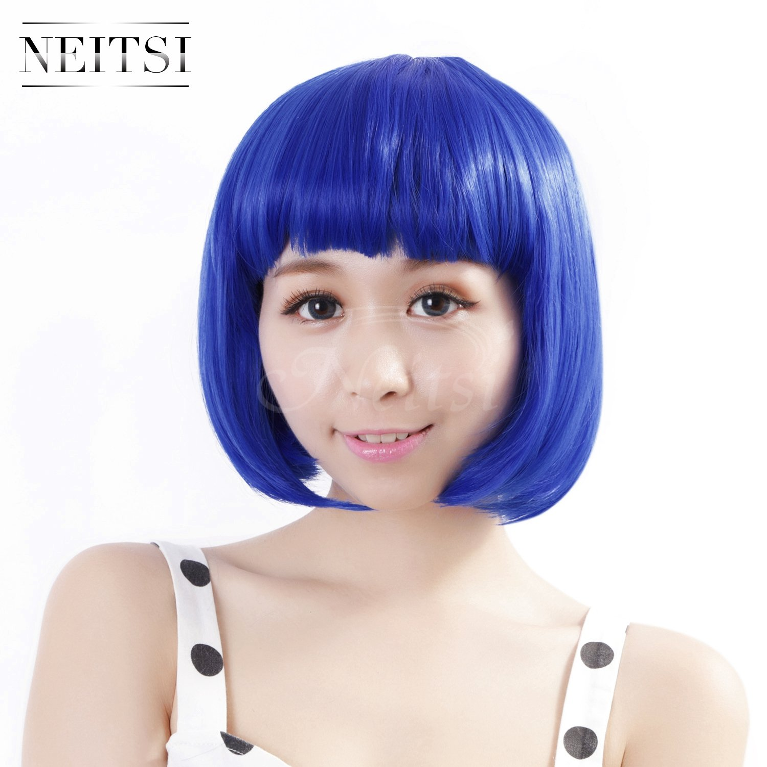 Neitsi 14 100% Kanekalon Fiber Women's Girl's Cosplay Short Synthetic BOB Hair Wigs for Christmas Party (Red) LTD