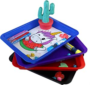 Activity Plastic Tray - Art + Crafts Organizer Tray, Serving Tray, Great for Crafts, Beads, Orbeez Water Beads, Painting (Tray 4 Set - Red, Blue, Purple, Black)
