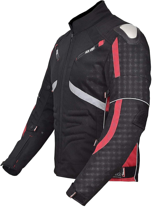 NORMAN Motorcycle Motorbike Cordura Mens Jacket Waterproof Textile Black CE Armoured Red//Black