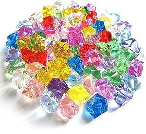 MinLia 50PCS/Bag Acrylic Ice Cube Stones, Artificial Filler Pebble Aquarium Acrylic Stones, Fish Tank Home Ornament(Multicolor)