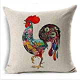 18 x 18 Inches Home Decorative Cotton Linen Square Throw Pillow Case Cushion Cover Chicken Design