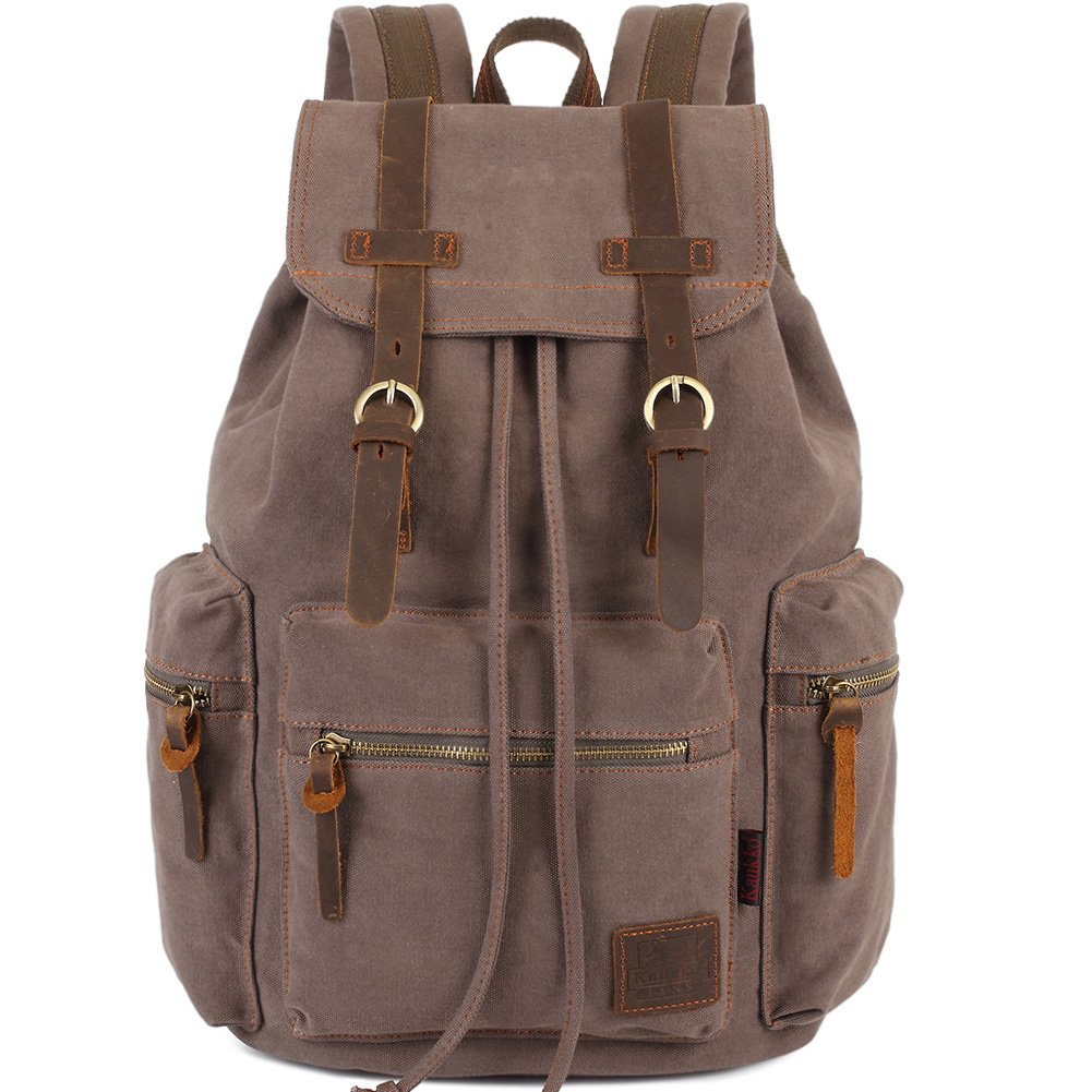 KAUKKO Vintage Casual Canvas and Leather Rucksack Backpack (1Coffee) Zhibiao Huang FP702-27