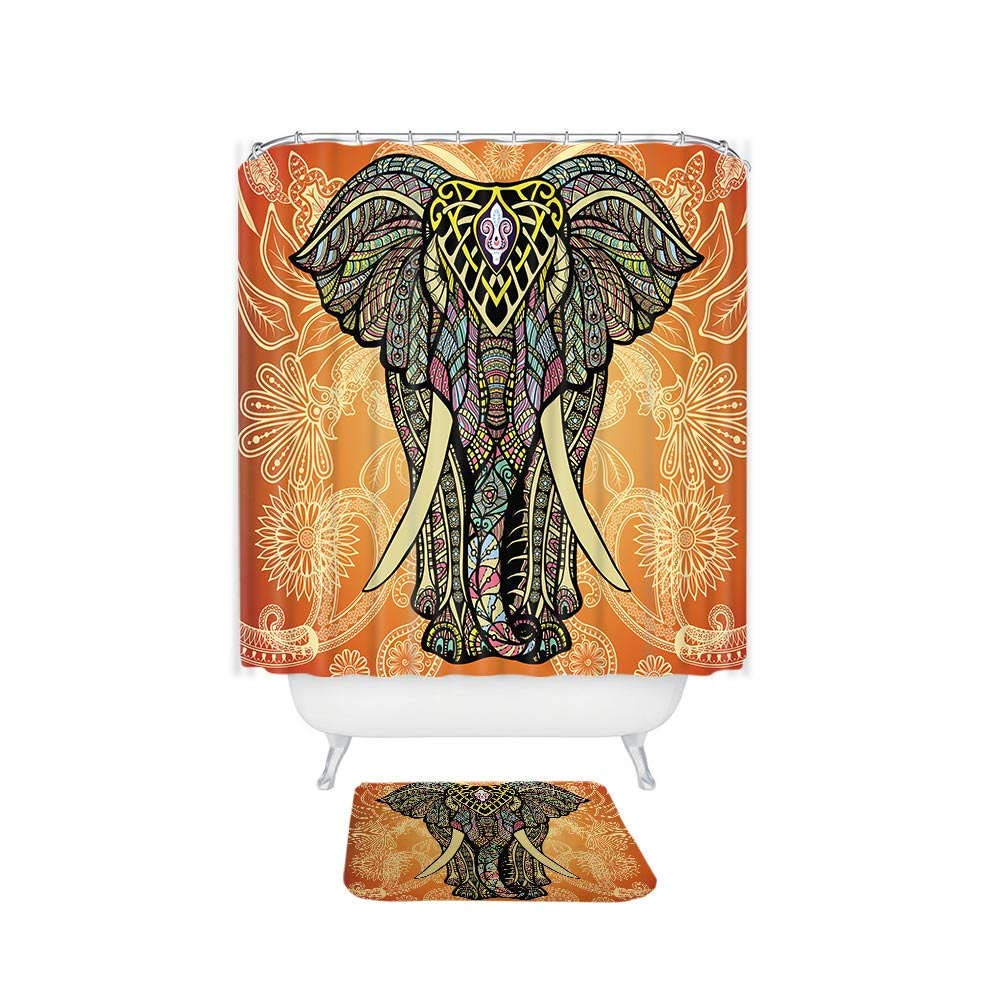 DUZHOME Shower Curtain Rings - Indian Colorful Elephant Printed Waterproof Polyester Shower Curtain Coral Velvet Anti-Slip Bath Mat Set with 12 Hooks
