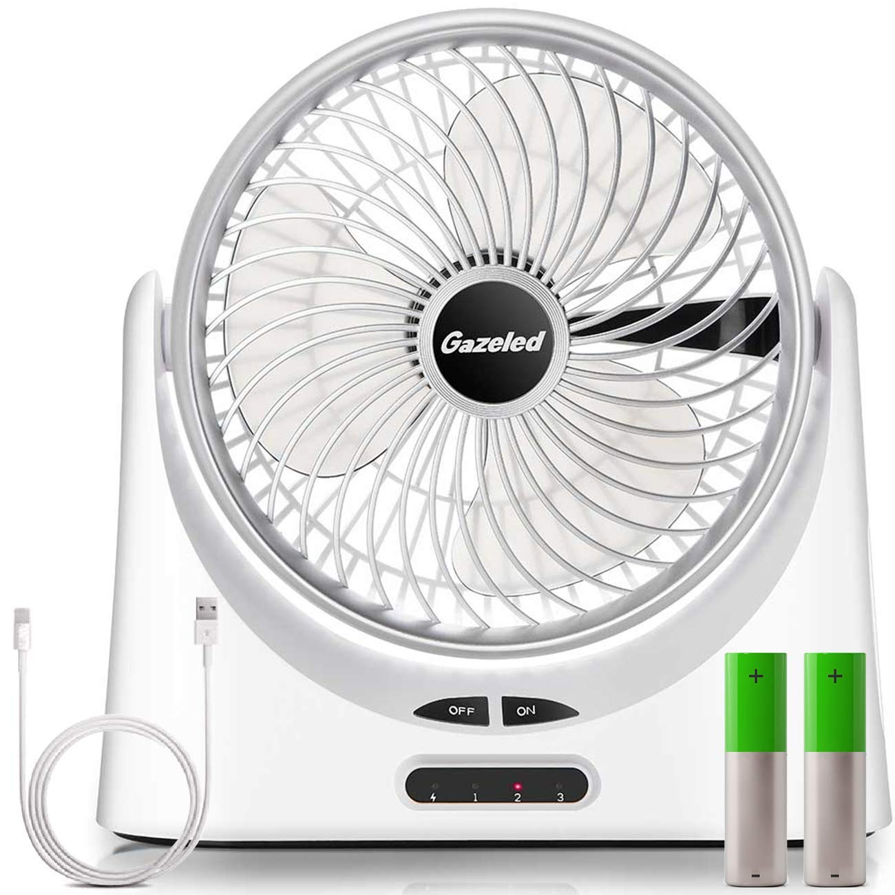 Rechargeable Battery Operated Fan, Portable USB Desk Fan, 7 inch 18650 Battery Fan, Quiet USB Powered Personal Fans with 5000mAh Battery(5-17H), LED light, 3 Speeds, for Camping, Traveling,Home,Office by Gazeled