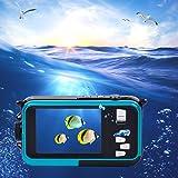 inkint 16X Double Ecrans (Ecran Avant de 1,8 Pouces; Ecran Arrière TFT de 2,7 Pouces) Caméra 1920x1080 Full HD Vidéo Numérique (Bleu)