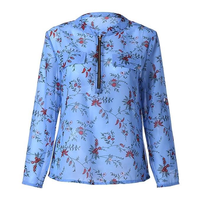 Camisas Mujer,ZARLLE 2018 Nuevo Blusas Para Mujer Vaquera Regulares De Manga Larga Con Cuello En V Blusa Top Impreso Zipper Sexy Gasa Tops Cremallera Tallas ...