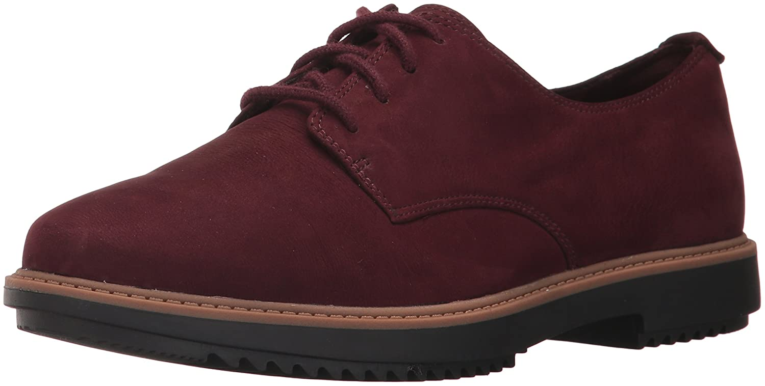 Burgundy Nubuck Clarks Women's Raisie Bloom Oxfords