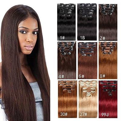 "7A Clip in Hair Extensions Human Hair Brazilian Virgin Hair Double Weft Full Head Straight 22inch-24inch 7 Pieces/set (200g 28"", Dark/Medium Brown)"