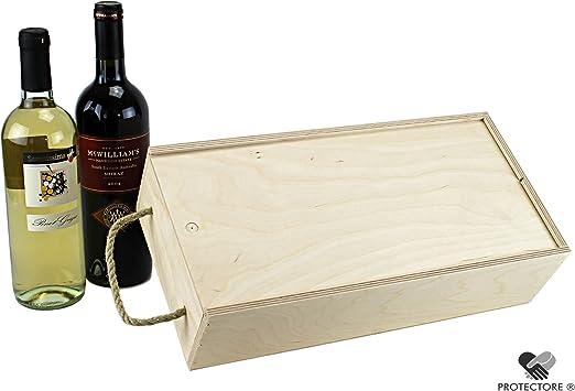 Caja Vino con tapa y cordón de cierre – Caja para 2 botellas de vino – Vino – Caja de madera – Caja de Regalo: Amazon.es: Hogar
