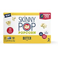 SkinnyPop Microwave Butter Popcorn Bags, Healthy Snacks, (3 Count of 2.8 oz Bags) 8.4 oz, Pack of 12