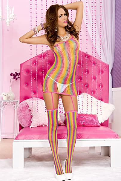 2ee92cd3e87 Amazon.com  Plus size One shoulder rainbow stripe fishnet garter dress with  attached stockings Music Legs 2129Q  Clothing