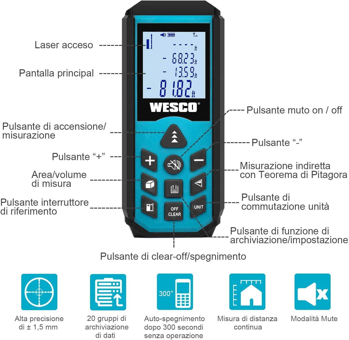 Modalit/à Vocale e Muta Area Auto-calibrazione con Teorema di Pitagora WS8910 Volume WESCO Telemetro Laser Distanziometro 40m Misuratore di Distanza in in M//In//Ft Misurazioni Precise di Distanza