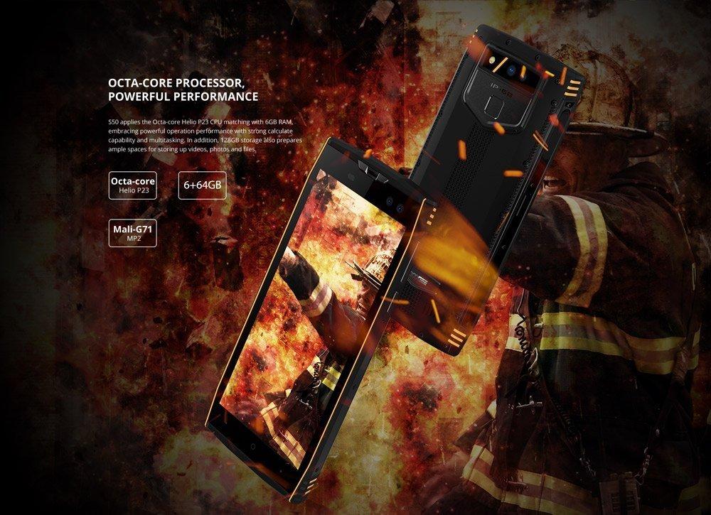 DOOGEE S50-5.7 pulgadas (relación 18: 9) IP68 impermeable smartphone, 2.5GHz Octa-Core 6GB + 64GB, cámaras cuádruples, batería de 5180mAh Carga rápida: ...