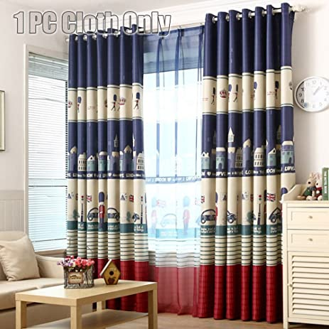 WINYY Plane Soccer Pattern Curtains For Children Cloth Tulle Blackout Grommet Top Kids