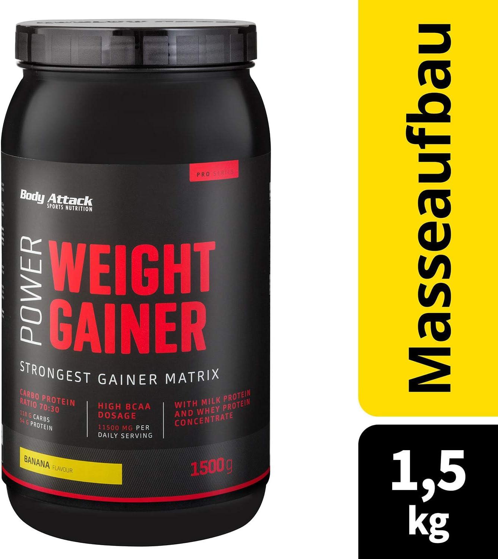 Body Attack Power Weight Gainer (aumento de peso), platano, 1,5 kg, 100% desarollo masa, carbohidrato- proteína en polvo para el aumento muscular con ...