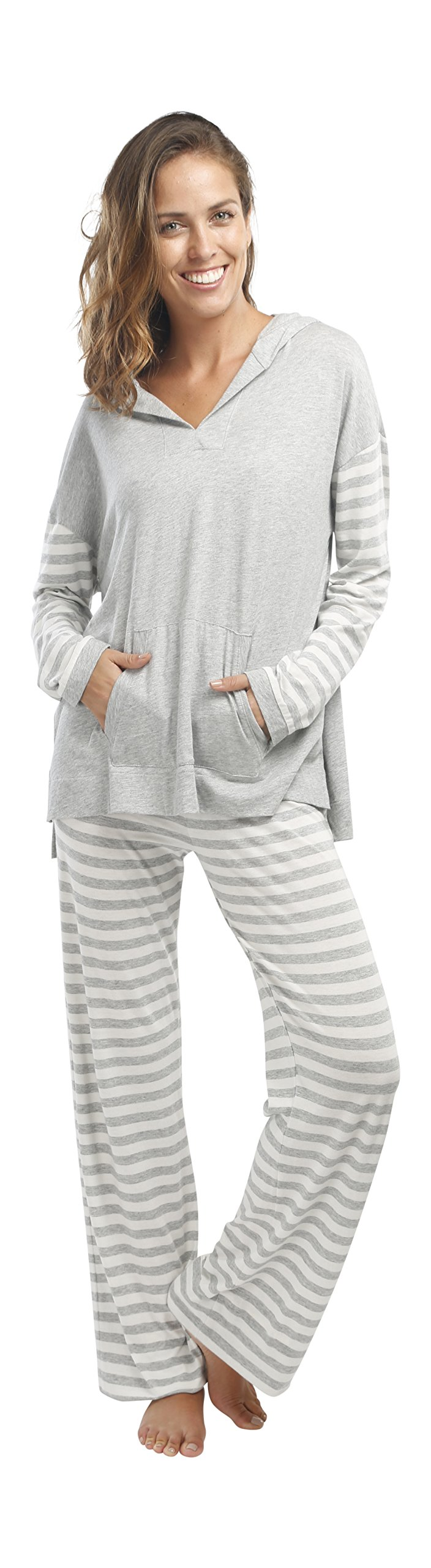 jijamas Incredibly Soft Pima Cotton Women's Pajama Set ''The Hoodie Set'' In Heather Grey