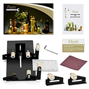 Glass Bottle Cutter, Fixm Square & Round Bottle Cutting Machine, Wine Bottles and Beer Bottles Cutter Tool with Accessories Tool Kit(Upgrade Version) (Color: Black)