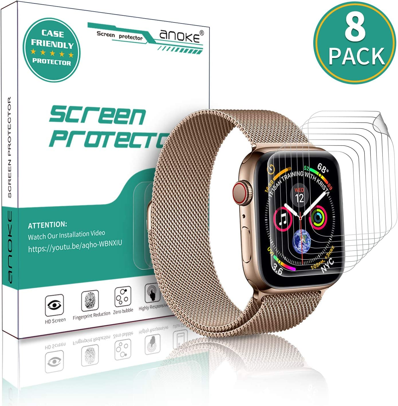[8 Pack] AnoKe for Apple Watch iWatch 38mm / 40mm Screen Protector (Series 6/SE/5/4 Series 3/2/1),Liquid Skin [Max Coverage] Curved Edge Case Band Friendly Lifetime Replacement Warranty 38mm /40mm