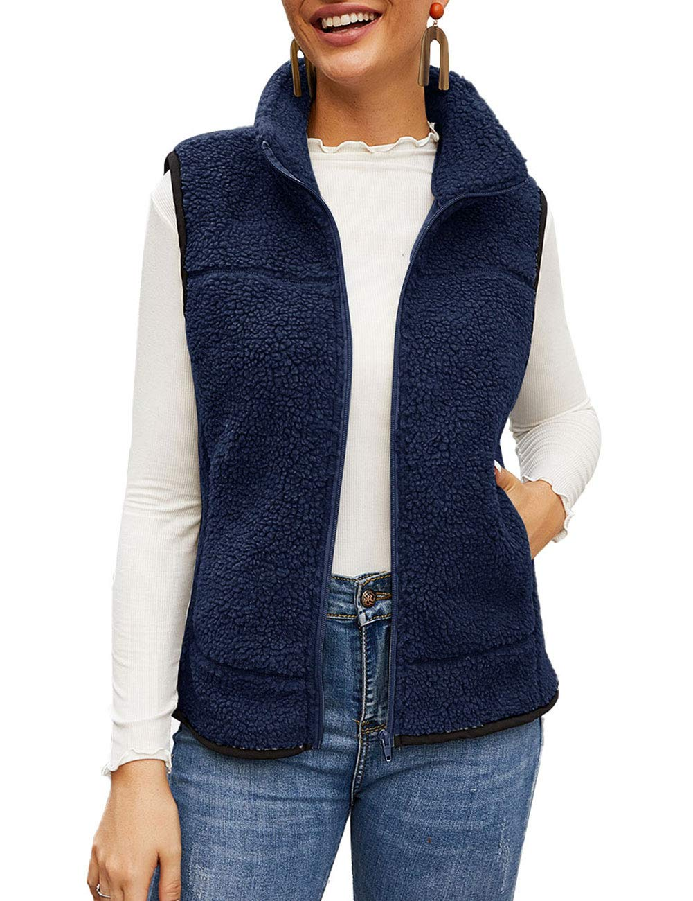 MEROKEETY Women's Slim Fall Quilted Herringbone Puffer Vest with Zipper by MEROKEETY