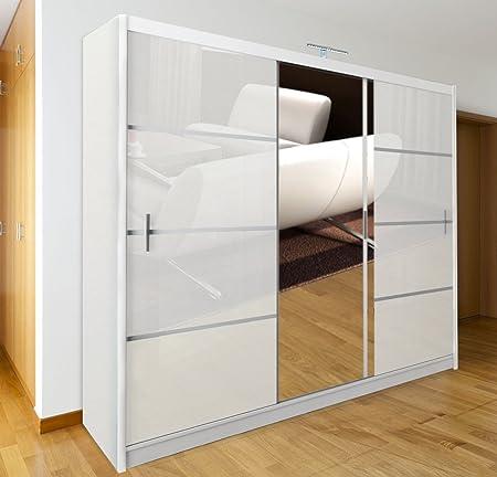 Dako Armario grande con puerta corredera y espejo, 250 cm de ancho, color blanco: Amazon.es: Hogar