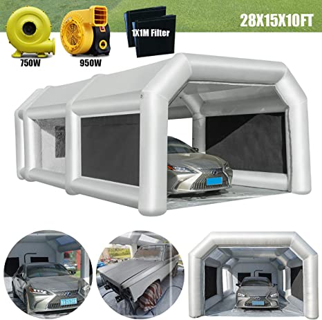 Spray Booth LuckyWe Inflatable Spray Paint Booth 33x16.5x13FT with Filter System Portable for Car Parking Tent Workstation Airbrushing Painting