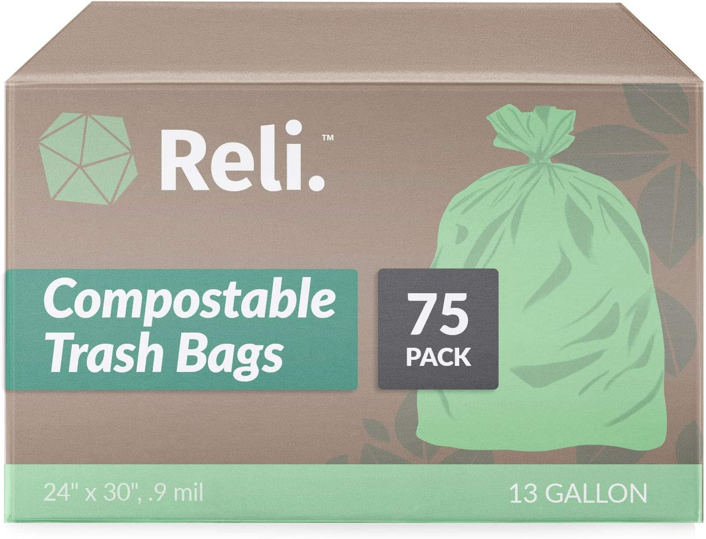 Reli. Compostable 13 Gallon Trash Bags   75 Count   ASTM D6400   Green, Compost 13 Gal Trash Bags (13 Gallon - 16 Gallon Kitchen Tall Garbage Bags) Eco-Friendly Food Waste Bags (13 Gal)