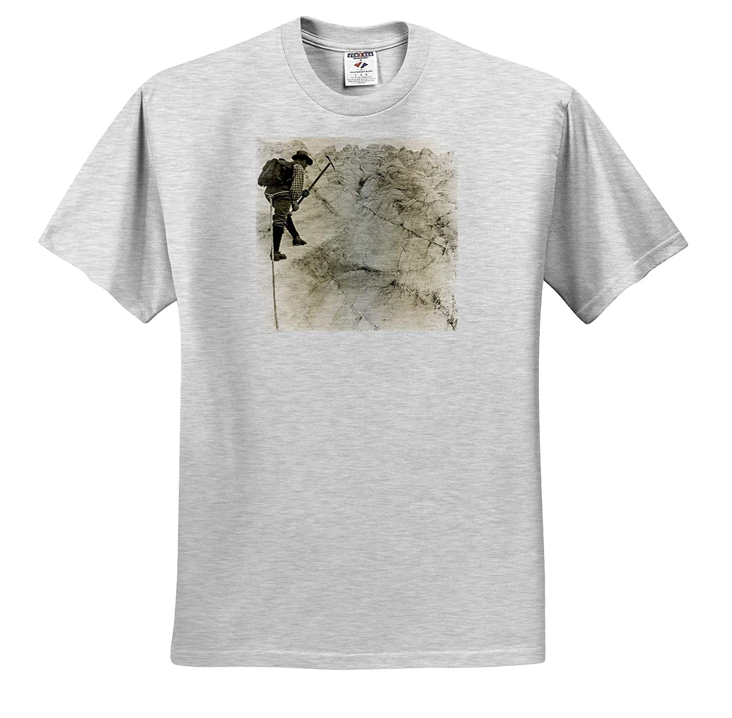 3dRose Scenes from The Past Mountaineer on The Great Glacier British Columbia Canada Vintage 1890s T-Shirts Stereoview