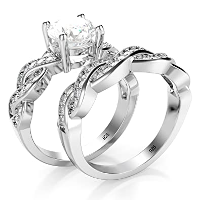Sz 4 Sterling Silver 925 CZ Cubic Zirconia Infinity Wedding Engagement Ring Set