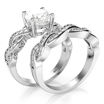 Amazon.com: Juego de anillos de compromiso de plata ...