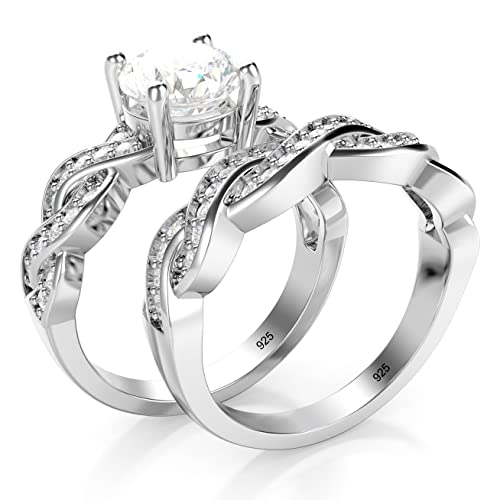 689a7f0ad0726 Metal Factory Sterling Silver 925 CZ Cubic Zirconia Infinity Wedding  Engagement Ring Set