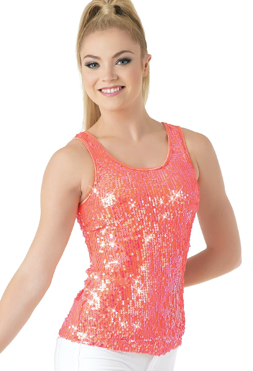 Balera Dance Sparkle Tank Iridescent Sequin Tangerine Child Large by Balera