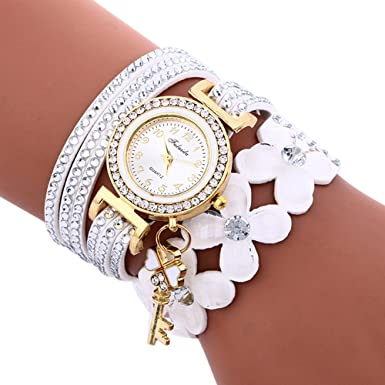 Dressin Womens Geneva Watch, Fashion Chimes Diamond Leather Bracelet Ladies Wrist Watch (White)