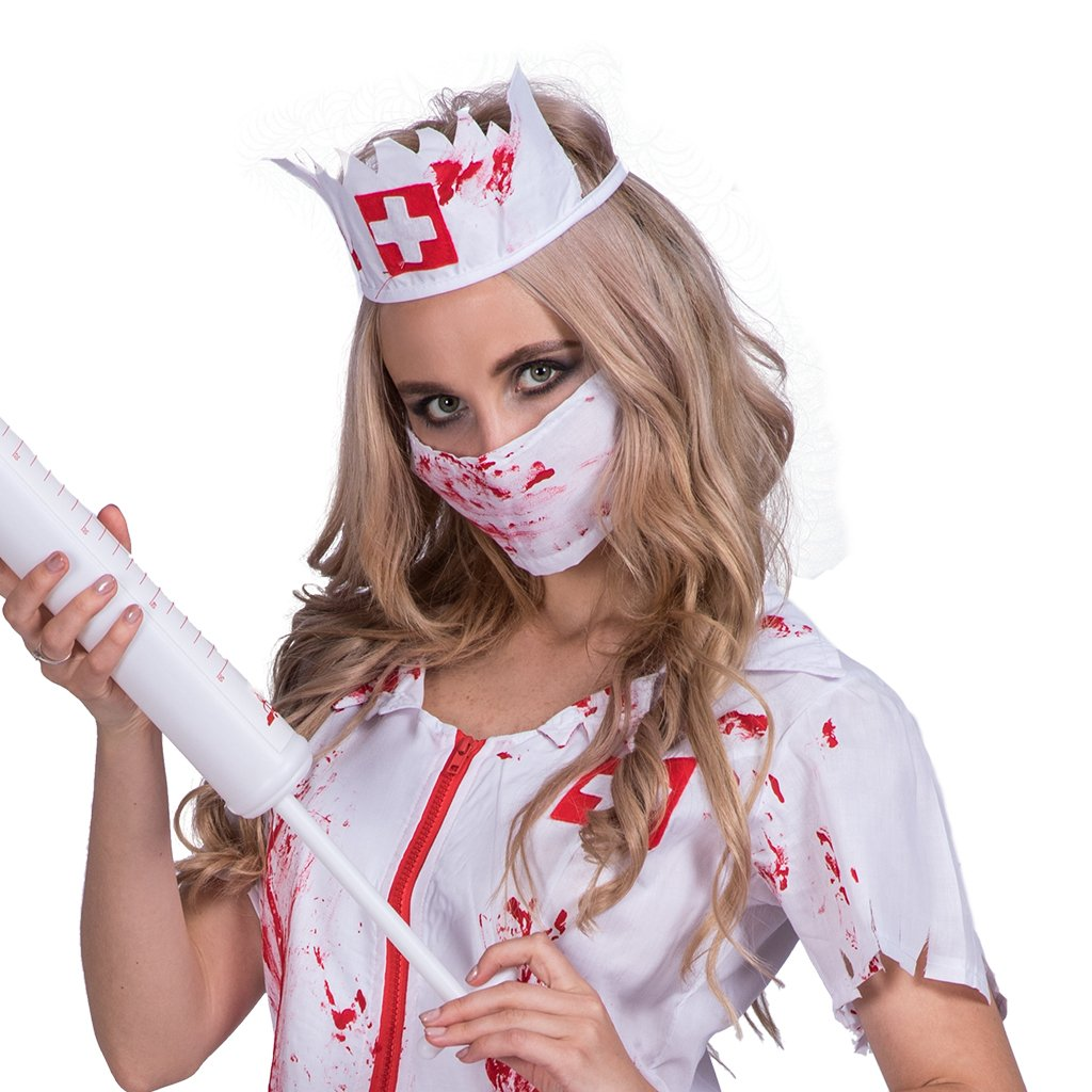 ebd06d4d25d40 Amazon.com: DressVoguer Women's Zombie Nurse Costume Halloween Horror  Bloody Ghost Cosplay for Adult: Clothing