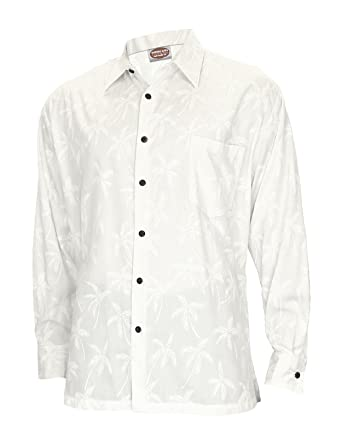8f0e640a Long Sleeves White Hawaiian Rayon Wedding Shirt Tropical Palms, Small, White  at Amazon Men's Clothing store: