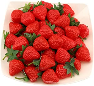 Gresorth 30 PCS Artificial Red Strawberry Fake Plastic Strawberries Fruits Christmas Decoration