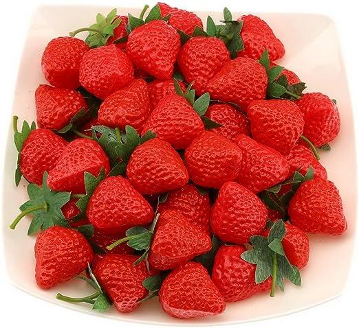 20× Artificial Mini Fake Strawberry Fruits House Party Kitchen Decor 3.6*3cm New