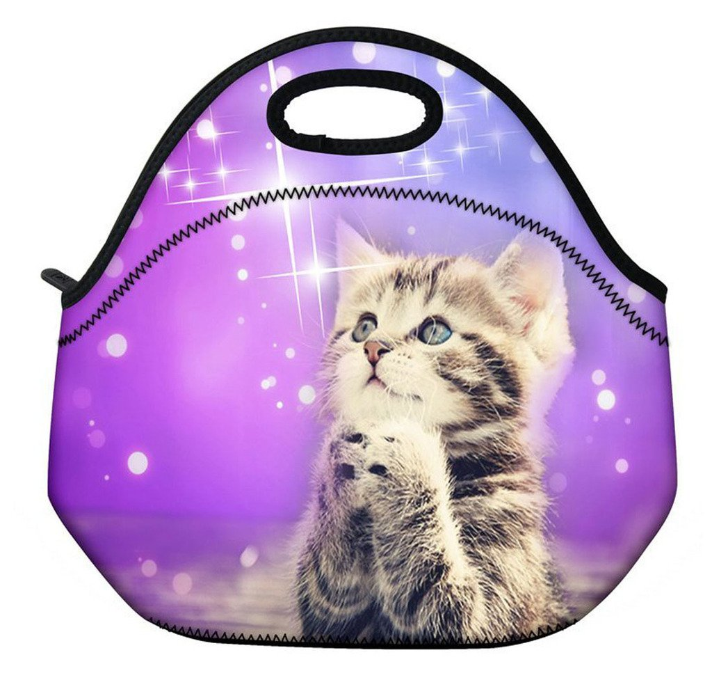 ( Wishing cat ) 3.5MM Thick Neoprene Lunch Bag / Lunch Tote, Insulated | Stretchy | Reusable | Washable | Rugged Zipper | Great For Lunchboxes & Snacks By SummerBoom
