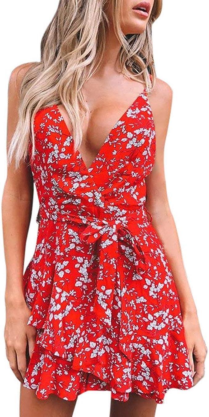 Summer Women/'s V Neck Floral Ruffle Sleeveless Dress Beach Party Sundress New